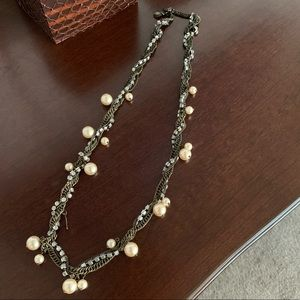 J Crew Beaded Pearl and Crystal Jewelry Necklace